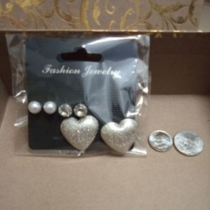 Jewelry - NWT 3 Pairs of Earrings- silver